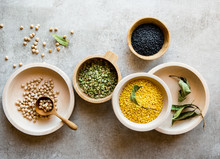 Various Lentils And Beans In W...