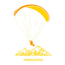 Paragliding Logo With Skydiver...
