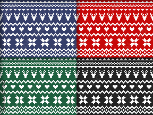 Nordic traditional seamless patterns in different colors. Norway Christmas sweater. Knitted Christmas pattern with deers, hearts and snowflakes. Hygge. Scandinavian winter pattern