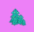 Leinwanddruck Bild - abstract christmas tree on pink  background