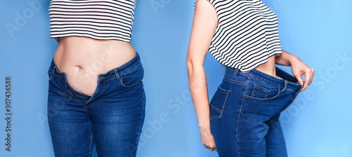 Fototapeta Fat body and slim body collage, loosing weight concept. obraz