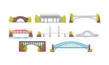 Different Bridges Collection, Urban Architecture Design Element Vector Illustration