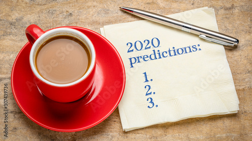 Fotomural  2020 predictions text on a napkin