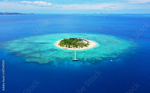 Paradise Island. Aerial View of beautiful Mala Mala Island, Fiji, Pacific Ocean. Drone shot.