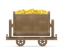 Mining Trolley Cart Vector Illustration