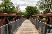 Bridge On Hiking Trail In Park...