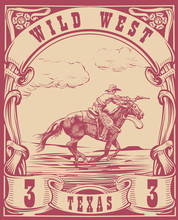 Vector Image Of A Cowboy On A Horse With A Lasso In The Form Of A Postage Stamp With The Inscription Kansas