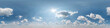 Leinwanddruck Bild - blue sky with beautiful cumulus clouds. Seamless hdri panorama 360 degrees angle view with zenith for use in 3d graphics or game development as sky dome or edit drone shot