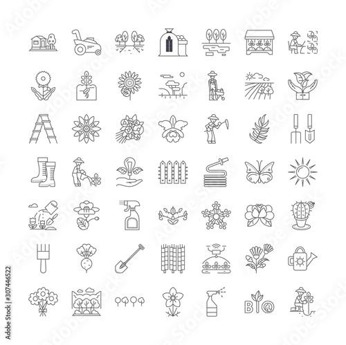 Garden line icons, signs, symbols vector, linear illustration set Wall mural