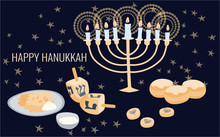 Happy Hanukkah Greeting Card Template With Menora, Dreidel, Chocolate Coins And Jelly Donuts. Hand Drawn Flat Vector Illustration.