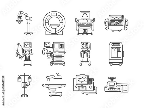 Photo Medical devices line black icons set
