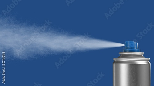 VFX plate photo of spray can with blast on blue background, fountain of vaporize Canvas Print