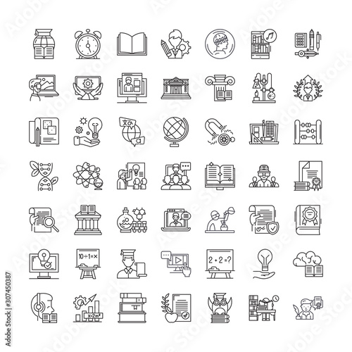 Photo Fast learning line icons, signs, symbols vector, linear illustration set