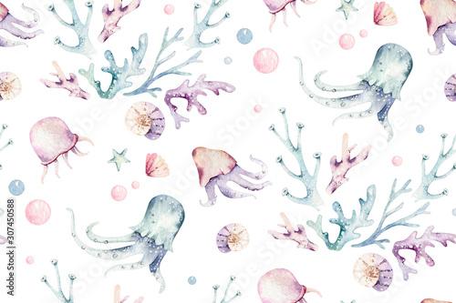 Fototapeta Sea animals blue watercolor ocean seamless pettern fish, turtle, whale and coral. Shell aquarium background. Nautical starfish marine illustration obraz