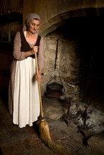 Medieval Maid Cleaning Antique...