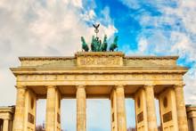 Brandenburg Gate Brandenburger Tor Details In Berlin, Germany During Bright Day With A Blue Sky. Famous Landmark In Berlin.