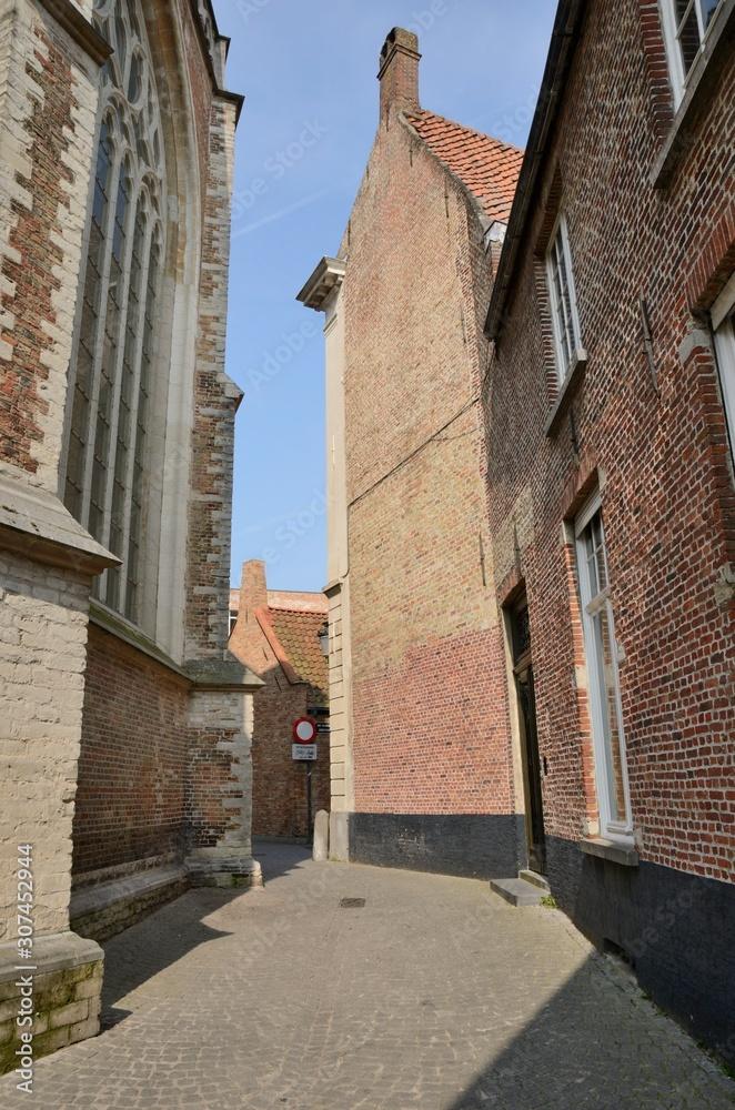 Medieval alley in Brugge, Belgium