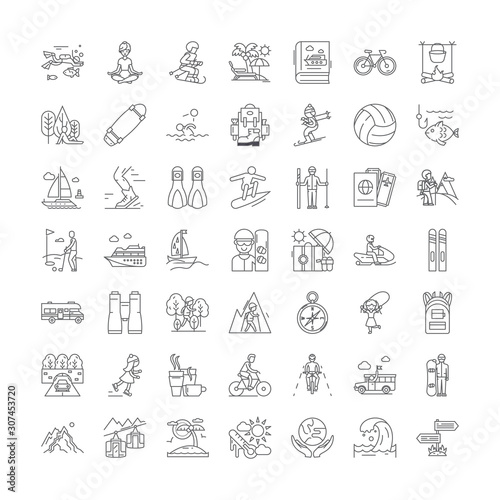 Fotomural Outdoor leisure line icons, signs, symbols vector, linear illustration set