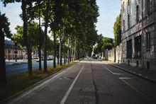 Green Street Of Paris With Sun...