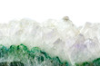 Macro of natural mineral rock on white background close up