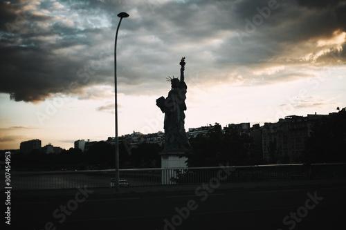 Foto op Aluminium Historisch mon. Statue of Liberty in Paris in the light of evening sun