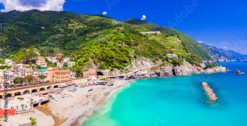Monterosso al mare with great beaches, Cinque Terre national park in Liguria, Italy