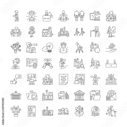 Publicity line icons, signs, symbols vector, linear illustration set Wallpaper Mural