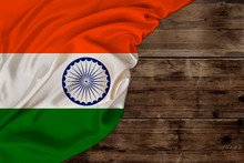 Color National Flag Of Modern State Of India, Beautiful Silk, Old Wood Background, Concept Of Tourism, Economy, Politics, Emigration, Independence Day, Copy Space, Template, Horizontal