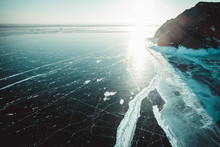 Sun Reflection On Crystalline Ice From Aerial View