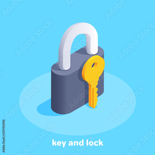 isometric vector image on a blue background, black lock and golden key icon Tableau sur Toile