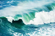 canvas print picture - Big ocean wave crashing near the coast. Beautiful nature background