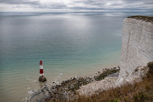 Beachy Head Lighthouse And The White Cliffs In Sussex