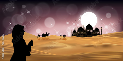 Photo Muslim woman praying during sunset with mosque background, Panorama landscape of