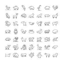 Wildlife Animals Line Icons, S...