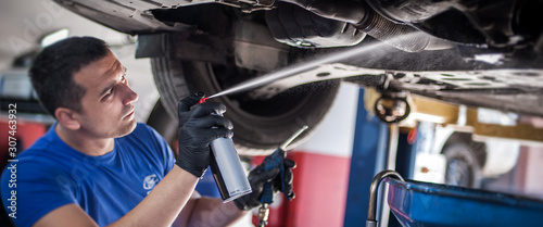 Car master mechanic repairer lubricates screws with machine cleaner spray Canvas Print