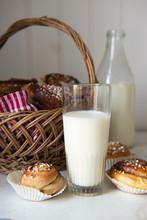 Glass Of Milk And Cinnamon Buns