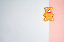 Teddy Bear Cookie On A Pastel ...