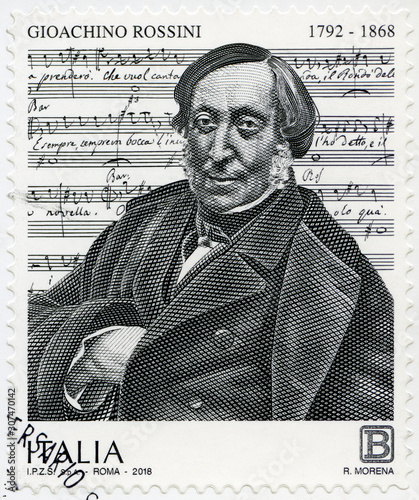 ITALY - 2018: shows Gioachino Antonio Rossini (1792-1868) Italian politician, 20 Wallpaper Mural