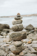 Stack Of Stones At Seaside