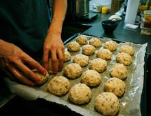 Preparing Raw Keto Dough For Baking Gluten-free Buns, Laying In A Row On A Baking Sheet