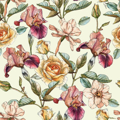 Panel Szklany Podświetlane Vintage Floral seamless pattern with watercolor irises, roses and narcissus. Background with spring flowers