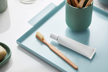 Wooden Toothbrushes With Toothpaste In Tray