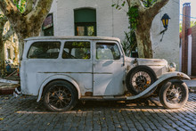 Grey Vintage Car In Latin Amer...