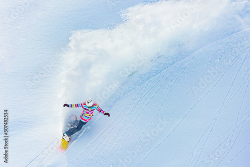 Snowboarder from above