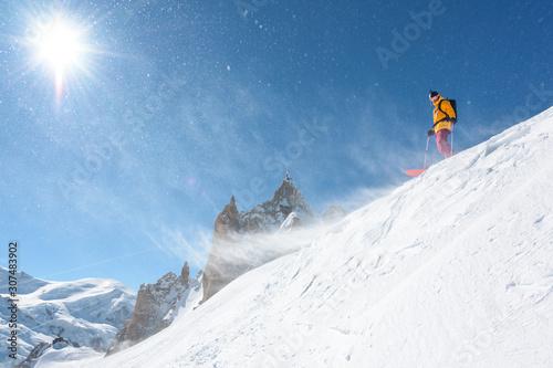 Freeride skier at Aguille du Midi