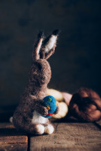 Handmade Easter Rabbit Made Of Wool And Felt