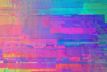 Colorful Rainbow Digital Pixel Glitch Background/texture