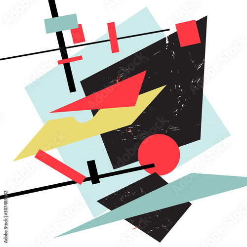 Vector abstract seamless background of geometric colored objects Fototapet