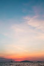 Sailing Into Sunset At The Sea