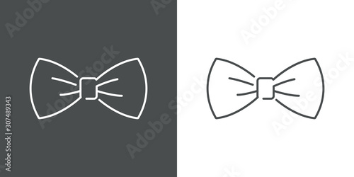 Icono plano lineal corbatín en fondo gris y fondo blanco Canvas Print